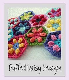 Puffed Daisy Hexagon.