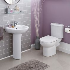 Studio Stylish Modern Bathroom Suite Includes White Ceramic One Tap Hole Basin 550mm Sink and Full Pedestal and Close coupled Cistern Toilet With Soft Close Seat and Optional Tap