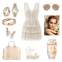 """""""Touch of Feminine"""" by arini-lioni on Polyvore featuring BCBGMAXAZRIA, Christian Louboutin, Louis Vuitton, Rolex, Cartier, Christian Dior and Chanel"""