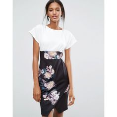 Closet Wide Sleeve Kimono Floral Contrast Dress ($52) ❤ liked on Polyvore featuring dresses, multi, long-sleeve floral dresses, wide sleeve dress, wrap skirt, white wrap skirt and tall dresses