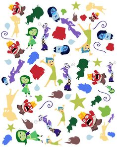 pattern inside out characters. fear disgust sadness joy anger...pixar.. disney.. instant download jpeg by studiomarshallarts on Etsy