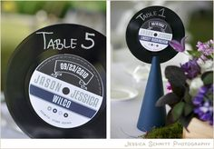 vinyl record wedding centerpiece | ... including escort cards at will call and vinyl record table numbers