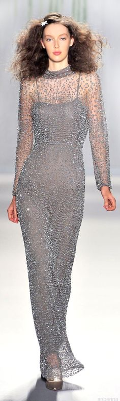 Jenny Packham Silver Jeweled Gown  2014