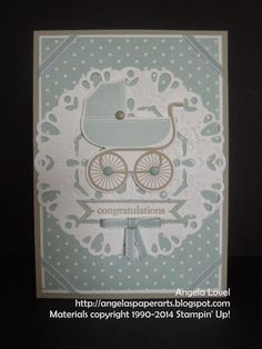 Features the Stampin' Up! Darling Doily thinlets die which can be purchased from my online store: http://www3.stampinup.com/ECWeb/ProductDetails.aspx?productID=133736&dbwsdemoid=4011749 Other key Stampin' Up! products used include: Something for baby & Itty Bitty Banners stamp sets, Baby's First & Bitty Banners framelits dies, Subtles & Neutrals Candy Dots, Soft Sky taffeta ribbon, ink & cardstock, Subtles Designer Series Paper Stack, Sahara Sand ink & cardstock and Whisper White Cardstock.
