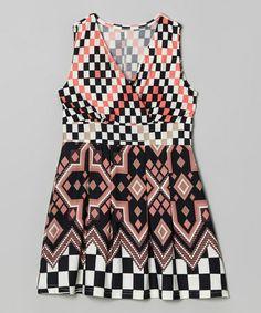 Love this Pink & Black Checkerboard Surplice Dress - Girls on #zulily! #zulilyfinds