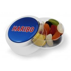 Haribo Beans Maxi Round :: Sweets and Chocolates :: Pebble Promotions :: Haribo beans in a maxi round plastic pot.  Product Code: 10006  Dimensions: 66.23 Dia x 25mm  Haribo Beans Maxi Round Colours: clear pot
