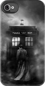 Amazing Doctor Who case for the iPhone (couple of models) and the iPod touch.  See the 10th doctor enter the Tardis all surrounded by fog