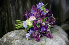 A French-inspired bouquet of lilac and roses