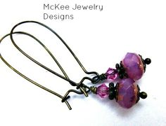 Pink crystal and Czech glass with bronze, earrings, jewelry, http://www.mckeejewelrydesigns.com/ 	 Andria McKee, McKee Jewelry,  McKee Jewelry Designs,   Hand made jewelry, jewellery .