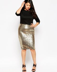 Club L Plus Size Bodycon Dress With Sequin Skirt