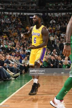 Lance Stephenson of the Los Angeles Lakers reacts to a play during. 5f865e08a