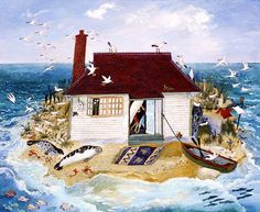 """Now that's a cottage by the sea, a little to close for me :).  Adorable print by Anna Pugh she calls it """"Happiness"""""""