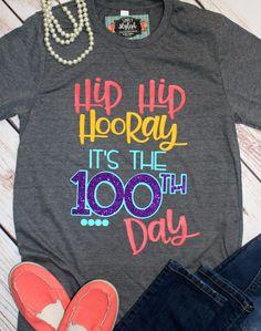 Happy Day of School T Shirts Day Teacher Shirt Hip Hip Hooray 100 Days 100 Days Smarter Teacher Shirts Gift for Teacher - Kindergarten Shirt - Ideas of Kindergarten Shirt - image 0 Teacher Wear, Teacher Style, Teacher Shirts, School Teacher, 100 Day Of School Project, 100 Days Of School, School Projects, Kid Projects, Vinyl Projects