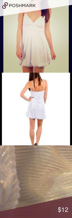 White shimmer bubble dress 98% polyester, 4% spandex white shimmer bubble dress Dresses Mini