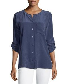 Equipment Hayes Jewel-Neck Tab-Sleeve Blouse, Peacoat  New offer @@@ Price :$218 Price Sale $99