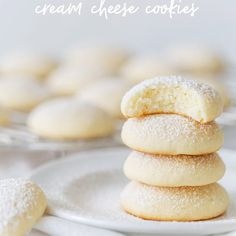Cream Cheese Cookies (Pillow Soft Cookies) | Pizzazzerie Easy Cookie Recipes, Sweet Recipes, Baking Recipes, Dessert Recipes, Desserts, Sugar Cookies Recipe, Yummy Cookies, Cream Cheese Cookie Recipe, Bolo Fit