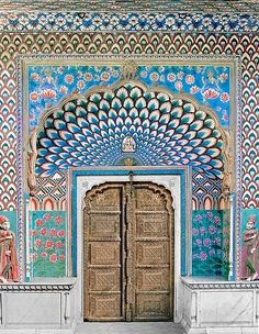 Marvellous handicrafted Peacock entrance ~ India