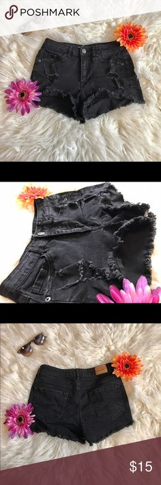 Distressed Black High Waist Shorts Very cute staple item for any girl's wardrobe! These black high waisted distressed shorts are a great choice for any spring or summer outfit! Pair with combat boots and a crop top, or a blouse and heels! Comfortable and versatile. 🌷 Aeropostale Shorts