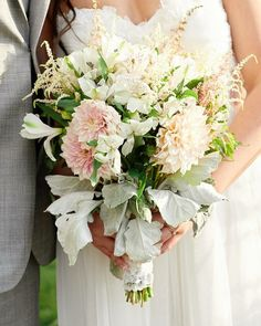 Handmade wedding bouquet using dahlias, astilbe, alstroemerias and dusty miller