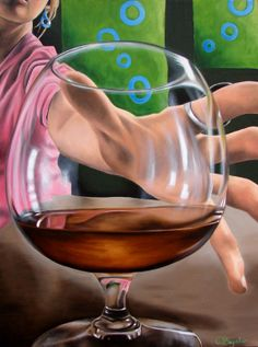 Grabbing a drink cognac snifter drinking bar scene oil painting reproduction 8x10 print