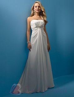 $192.76 Ivory Strapless Beaded Empire Waist Soft Satin Simple Wedding Dress W1309