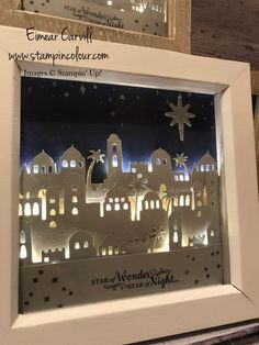 Eimear Carvill www.stampincolour.com Bethlehem Light Up Shadow Box Frame using Stampin' Up's Bethlehem Edgelits Dies see my blog for a video tutorial