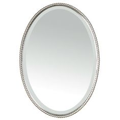 Bathroom Brushed Nickel Oval Mirror With Flowers Decor From Good Looking Mirrors
