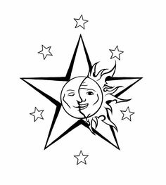 Star with sun moon tattoo Moon Star Tattoo, Star Tattoos, Love Tattoos, Star Tattoo Designs, Dragon Tattoo Designs, Star Designs, Celestial Tattoo, Star Clipart, Sun Moon Stars