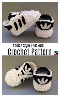 Crochet Adidas Sneakers - Free Pattern & Video Tutorial , for Women - Relaxed Once they were element of sports fashion alone, today they're a pattern and are becoming an important the main catwalks o. Crochet Converse, Booties Crochet, Crochet Slippers, Baby Shoes Pattern, Baby Patterns, Baby Knitting Patterns, Crochet Patterns, Crochet Baby Clothes, Crochet Baby Shoes
