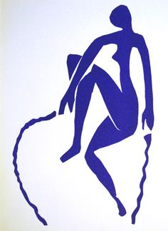 Femme bleue / Blue nude skipping rope. Color lithograph after a paper cut-out and gouache, 1952. Published in the deluxe art review, Verve.