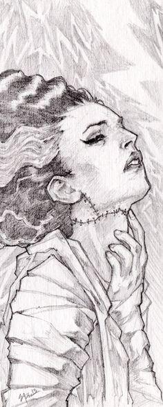 Bride of Frankenstein by Eric Pineda.  Graphite on board.  www.playkill.com