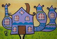 ACEO FUN Crazy I DREAM OF JEANNIE/ GENIE House ATC Original Art Painting ELLISON
