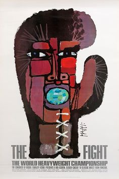 Celestino Piatti's fight poster for Ali vs Frazier, 1971