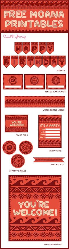 "Free Moana printables to use for your birthday party. The collection includes birthday invitations, cupcake toppers, a ""Happy Birthday"" banner, a welcome sign, favor tags and more! 