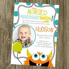 monster birthday party | Monster Birthday Party Invitation Photo by shelleyspaperstudio
