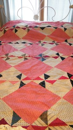 Antique Late 1800s Quilt Top - Pink, Red, Maroon, Cream & Blue Indigo Fabric