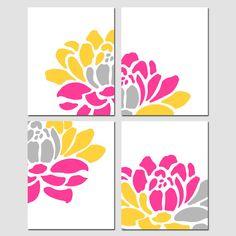 Floral Art Quad  Set of Four 11x14 Floral Prints  by Tessyla