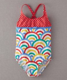 Sizzle Red Rainbow Hotchpotch One-Piece by Mini Boden