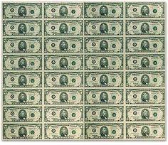 printable money sheet | uncut 5 five dollar currency sheet