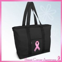 Pink Ribbon Tote Bag Black Deluxe Breast Cancer Awareness - For Travel or Beach Best Unique Gift Ideas for Her, Women, or Ladies.  List Price: $34.99  Sale Price: $24.99  Savings: $10.00
