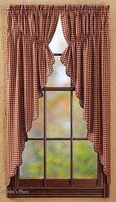 burgundy check prairie curtain | burgundy check,curtain panels,swag,tiers,valance,window treatments ...