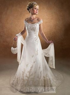 A-Line/Princess Off-the-Shoulder Chapel Train Satin Tulle Wedding Dresses With Ruffle Lace Beadwork Chapel Wedding Dresses, 2015 Wedding Dresses, Elegant Wedding Dress, Tulle Wedding, Bridal Dresses, Wedding Gowns, Organza Bridal, Trendy Wedding, Perfect Wedding