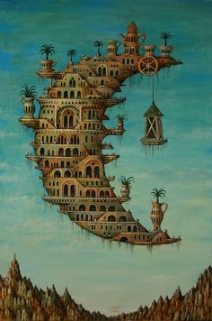 by Salvador Dali Spanish painter.~~~Dali- Id like to live in the crescent moon Fantasy Kunst, Fantasy Art, L'art Salvador Dali, Salvador Dali Paintings, Drawn Art, Vladimir Kush, Fantasy Paintings, Oil Paintings, Magritte