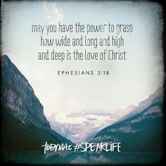 Your love is endless and boundless.  Thank you Jesus Ephesians 3:18
