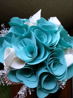 Teal Fabric Rose Bouquet
