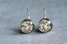 Delicate floral  flowers dangle glass earrings by ShoShanaArt, $14.00
