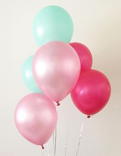 Pink Mint Hot Pink Latex Balloons Pink Balloons Pink and Mint First Birthday Pink and Mint Shower Shabby Chic Unicorn Party Mermaid Party