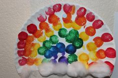 Rainbow Preschool Craft. Cut the bottom off a paper plate. Use a circle shaped sponge. Cotton balls for clouds. Cute!