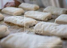 Ciabatta Bread Rolls on Metal Tray