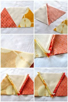 How to sew equilateral triangles - a tutorial.  Clear photos and directions.  She presses her seams open, which I like to do.